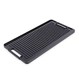 Artisanal Kitchen Supply® Pre-Seasoned Cast Iron Stovetop Grill/Griddle in Black