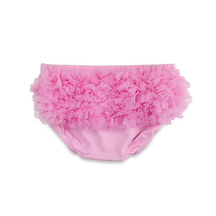 Alternate image 1 for Ruffle Butts® Ruffly Rumps® Chiffon Knit Bloomer in Pink