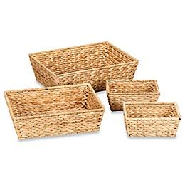 Household Essentials® 4-Piece Banana Leaf Wicker Storage Basket Set