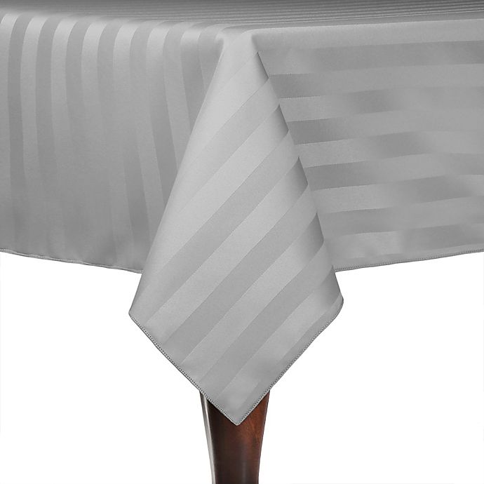Alternate image 1 for Poly-Stripe 72-Inch x 72-Inch Square Indoor/Outdoor Tablecloth in Grey