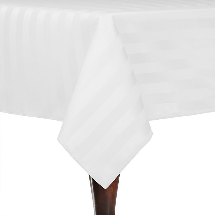 Alternate image 1 for Poly-Stripe 84-Inch x 84-Inch Square Indoor/Outdoor Tablecloth in White