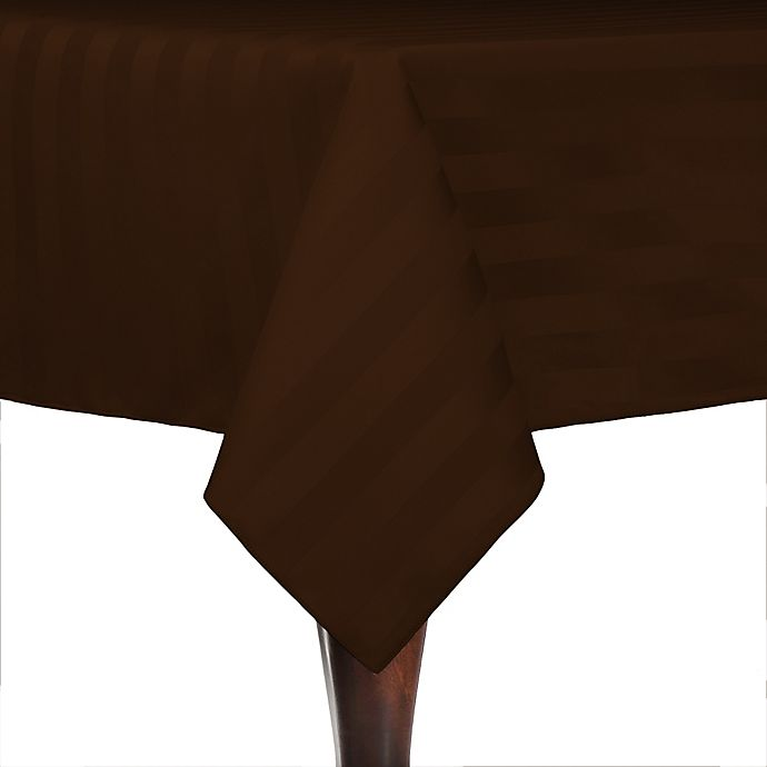 Alternate image 1 for Poly-Stripe 72-Inch x 72-Inch Square Indoor/Outdoor Tablecloth in Espresso