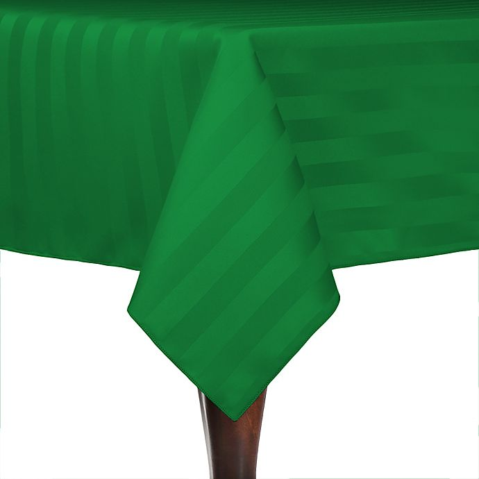 Alternate image 1 for Poly-Stripe 72-Inch x 72-Inch Square Indoor/Outdoor Tablecloth in Emerald