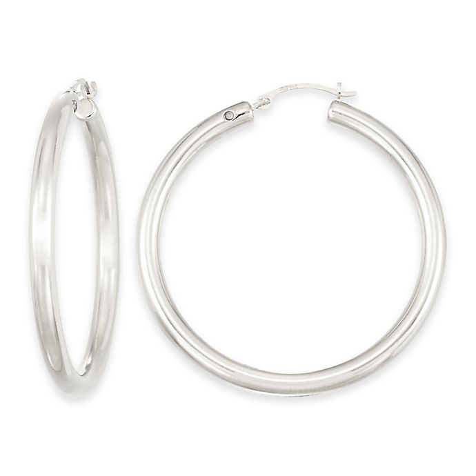 Alternate image 1 for 14K White Gold Smooth 36mm Round Hoop Earrings