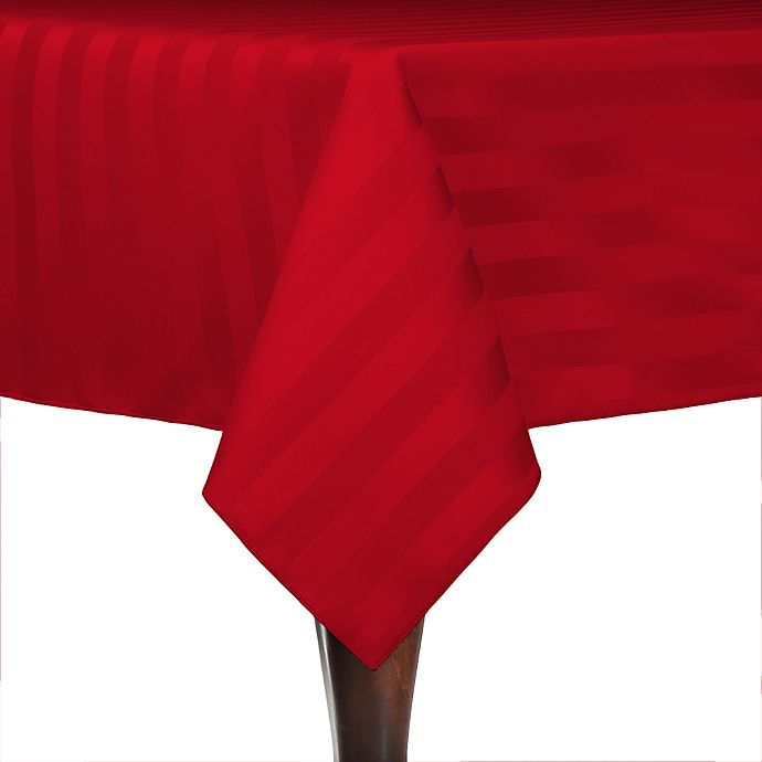 Alternate image 1 for Poly-Stripe 84-Inch x 84-Inch Square Indoor/Outdoor Tablecloth in Red