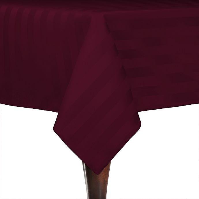 Alternate image 1 for Poly-Stripe 84-Inch x 84-Inch Square Indoor/Outdoor Tablecloth in Burgundy