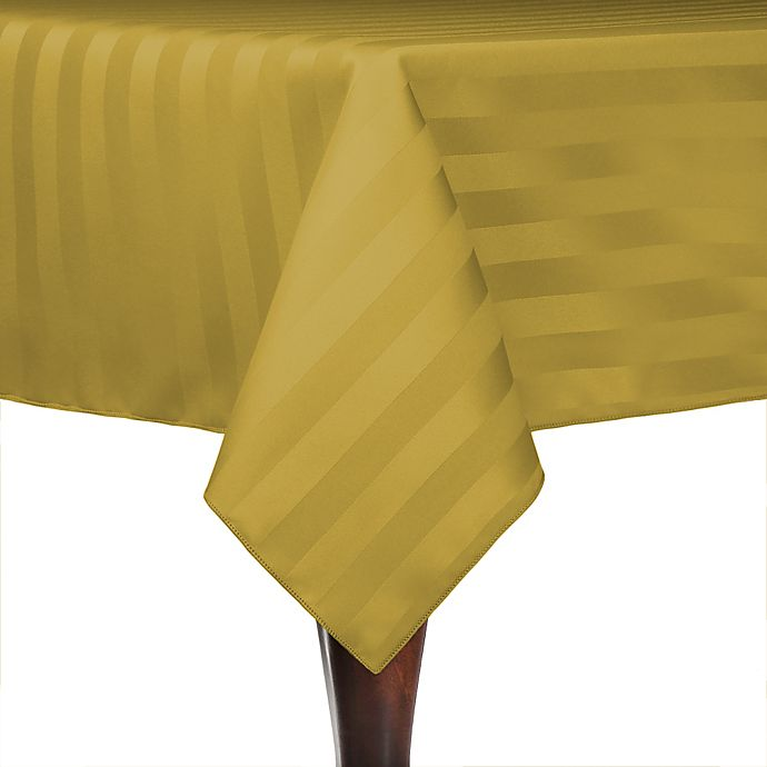 Alternate image 1 for Poly-Stripe 84-Inch x 84-Inch Square Indoor/Outdoor Tablecloth in Gold