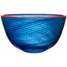 Kosta Boda 11.5-Inch Red Rim Bowl in Blue