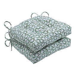 Pillow Perfect Painted Triangles Verte Reversible Chair Pads in Green (Set of 2)