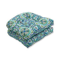 Pillow Perfect Lagoa Tile Tufted Wicker Seat Cushions in Blue (Set of 2)