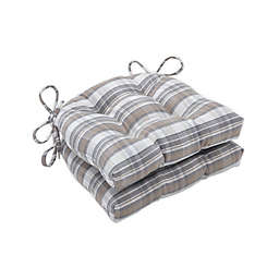 Pillow Perfect Bebe Cobblestone Reversible Chair Pads in Grey/Brown (Set of 2)