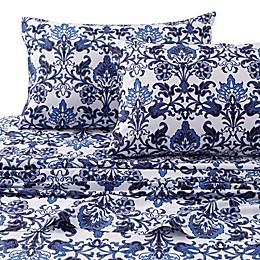 Tribeca Living Catalina 300-Thread-Count Deep Pocket Twin XL Sheet Set in Blue
