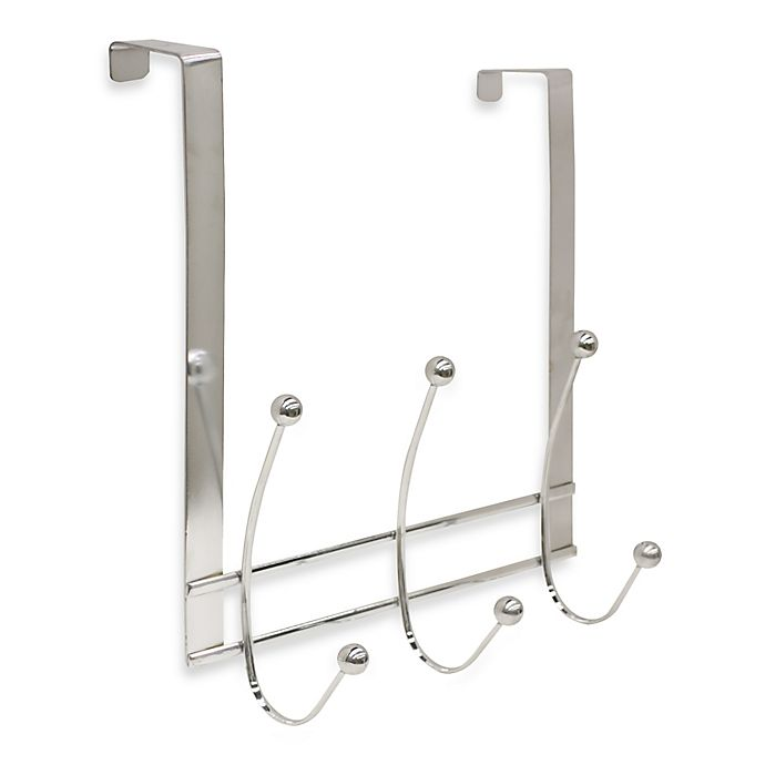 Alternate image 1 for Home Basics® Over-the-Door 3-Hook Flat Wire Hanger in Chrome