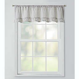 Bee & Willow™ Home Striped Ruffles Window Valance in Grey/Ivory