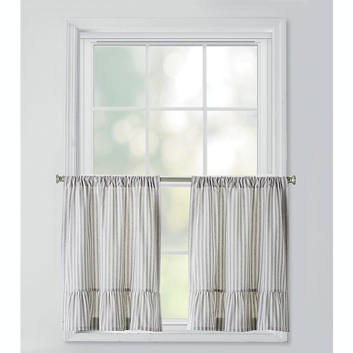 Alternate image 1 for Bee & Willow™ Home Striped Ruffles Window Curtain Tier Pair in Grey/Ivory