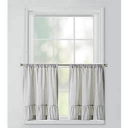 Bee & Willow™ Home Striped Ruffles Window Curtain Tier Pair in Grey/Ivory