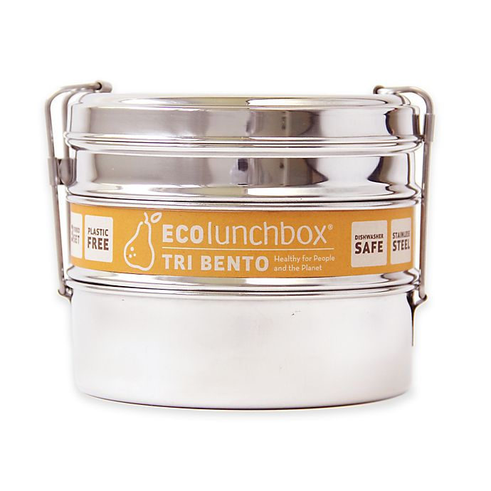 Alternate image 1 for ECOlunchbox Tri Bento 3-Tier Food Container Set in Stainless Steel