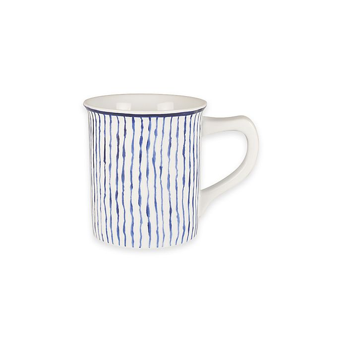 Alternate image 1 for Everyday White® by Fitz and Floyd® Bistro Blue Stripe Mug
