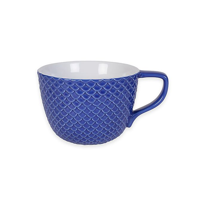 Alternate image 1 for Everyday White® by Fitz and Floyd® Bistro Blue Scallop Texture Soup Mug