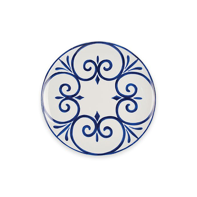 Alternate image 1 for Everyday White® by Fitz and Floyd® Bistro Blue Palazzo Salad Plate