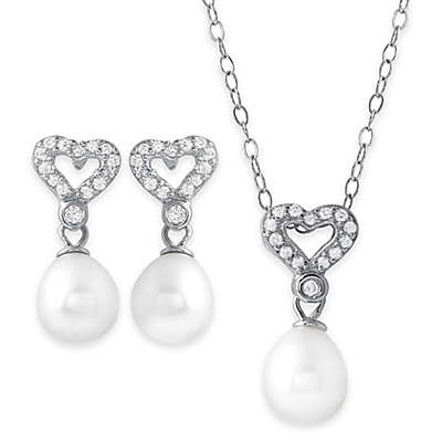 Sterling Silver Freshwater Cultured Pearl and Cubic Zirconia Necklace and Earring Set