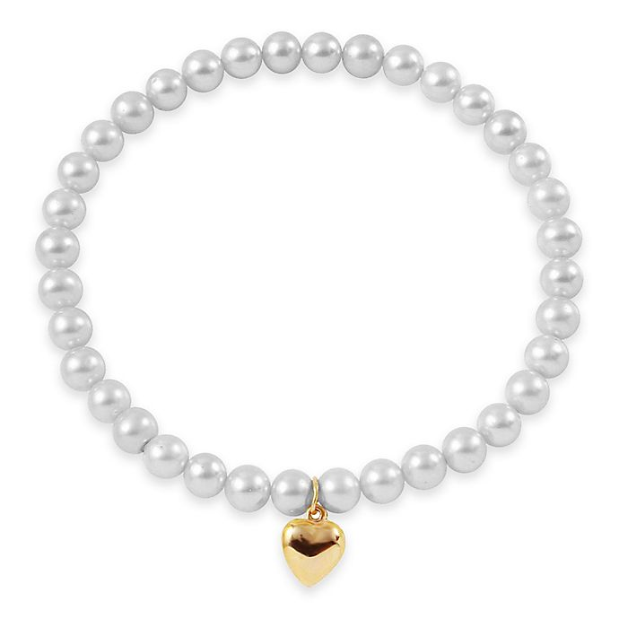 Alternate image 1 for 6-7mm Freshwater Cultured Pearl 7.5-Inch Stretch Bracelet with 14K Yellow Gold Heart Charm