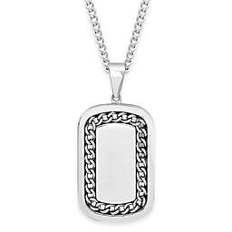 Stainless Steel 24-Inch Chain Men's Inlaid Dog Tag Pendant Necklace