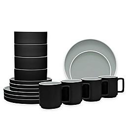 Noritake® ColorTrio Stax 16-Piece Dinnerware Set in Graphite