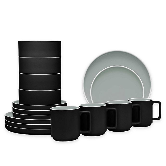 Alternate image 1 for Noritake® ColorTrio Stax 16-Piece Dinnerware Set in Graphite