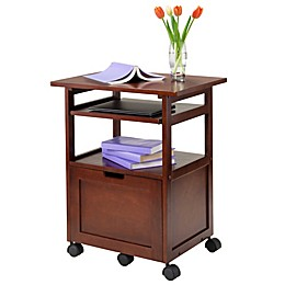 Piper Work Cart/Printer Stand with Pullout Keyboard Tray in Walnut