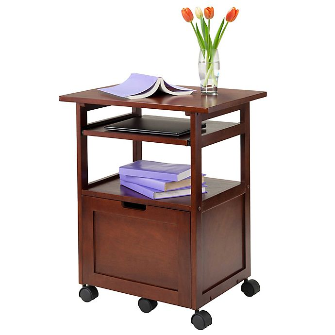 Alternate image 1 for Piper Work Cart/Printer Stand with Pullout Keyboard Tray in Walnut