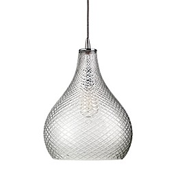Large Curved Cut Glass 1-Light Pendant
