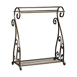 Metal Quilt Rack with Bottom Shelf in Aged Gold