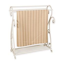 Metal Quilt Rack with Bottom Shelf in Whitewash