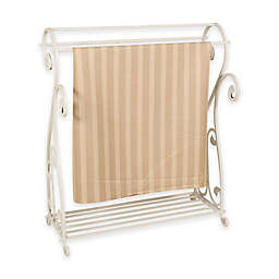Metal Quilt Rack with Bottom Shelf in Whitewash