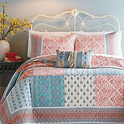 Jessica Simpson Indian-Inspired Sunrise Quilt in Coral/Blue