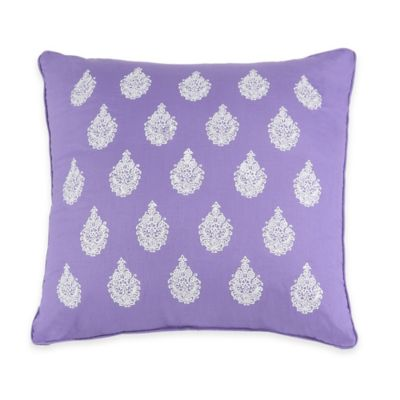 Jessica Simpson Mosaic Border Square Throw Pillow in Purple | Bed