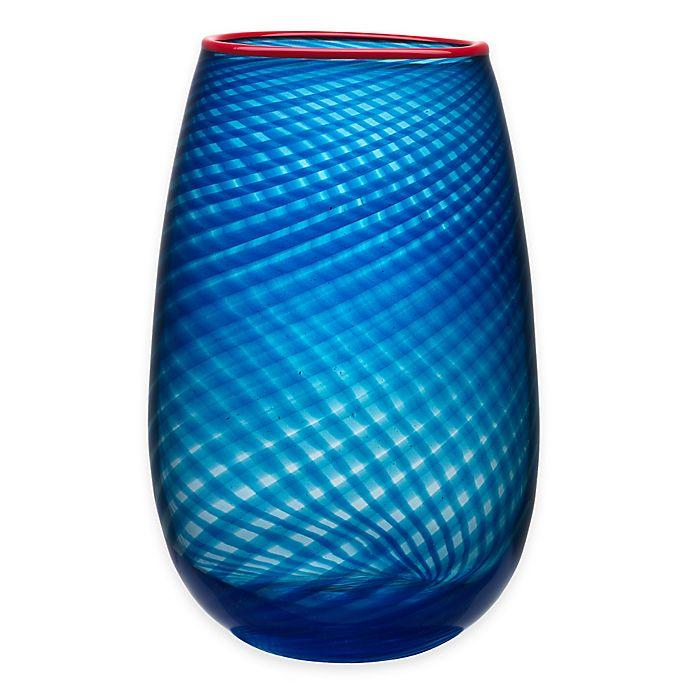 Alternate image 1 for Kosta Boda Large Red Rim Vase in Blue