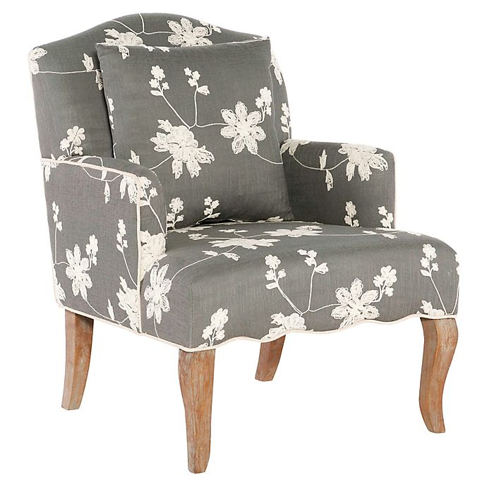 Alternate image 1 for Floral Linen Arm Chair in Grey Wash