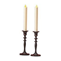 Luminara® Real-Flame Effect 8-Inch Battery Operated Taper Candles in Ivory (Set of 2)