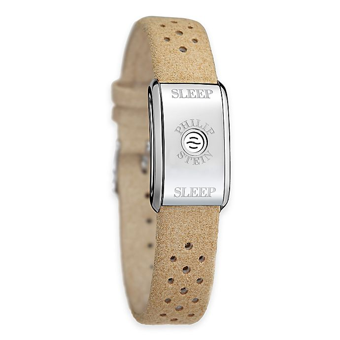 Philip Stein Uni Sleep Bracelet In Stainless Steel With Camel Micro Fiber Band