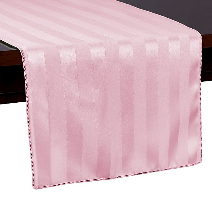 Alternate image 1 for Poly Stripe 72-Inch Table Runner in Pink