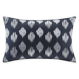INK+IVY Nadia Dot Embroidered Oblong Throw Pillow in Navy