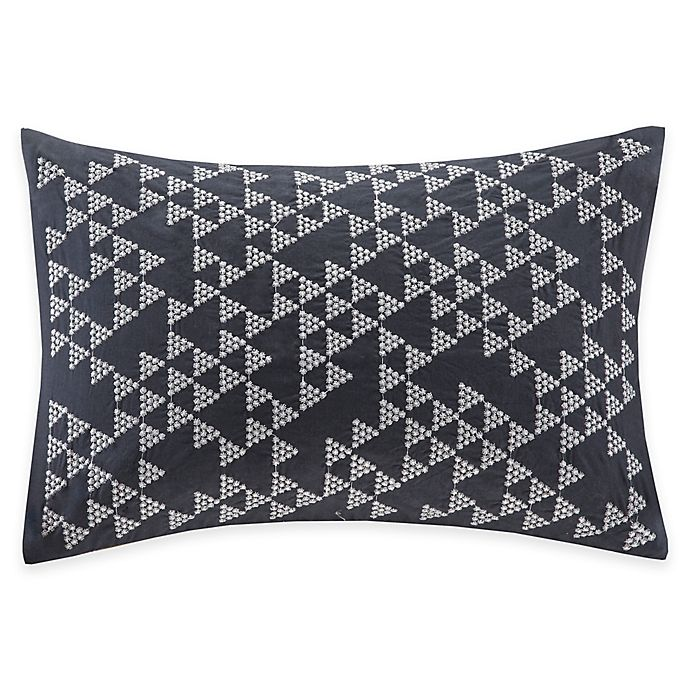 Alternate image 1 for INK+IVY Thea Embroidered Oblong Throw Pillow in Navy