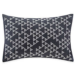 INK+IVY Thea Embroidered Oblong Throw Pillow in Navy