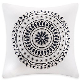 INK+IVY 18-Inch Fleur Embroidered Square Throw Pillow