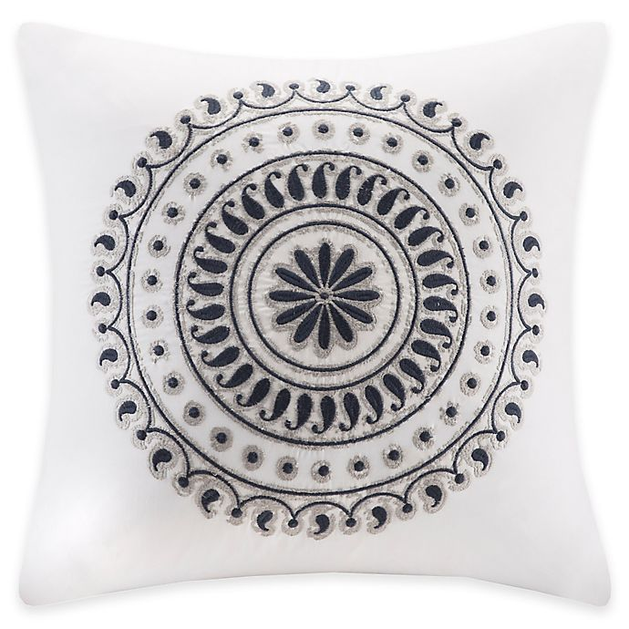 Alternate image 1 for INK+IVY 18-Inch Fleur Embroidered Square Throw Pillow