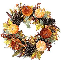 Bee & Willow™ Home 24-Inch Velvet Pumpkin Wreath in Orange