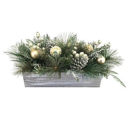 21-Inch Opulent Ball Faux Pine Centerpiece in Green