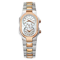 Philip Stein Ladies' 42mm Rose Gold Signature Mother of Pearl Watch in Two-Tone Stainless Steel